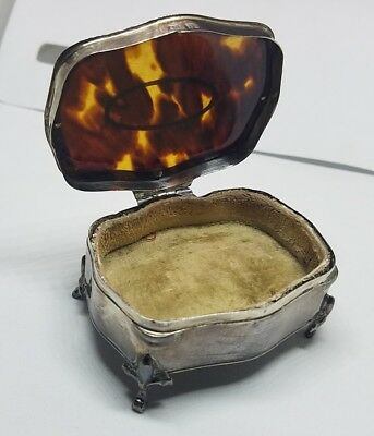 Antique English Sterling Silver & Tortoise Shell Trinket Box
