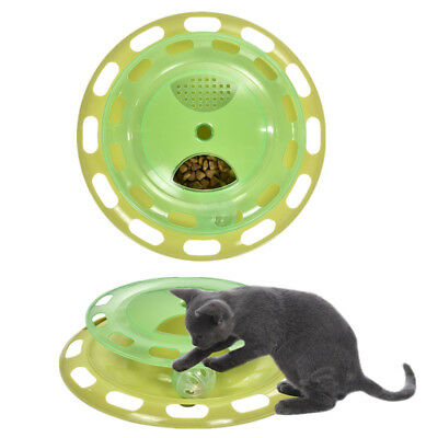 Cat Food Treat Dispenser Turntable Bell Activity Rotatable Play Interactive Toy