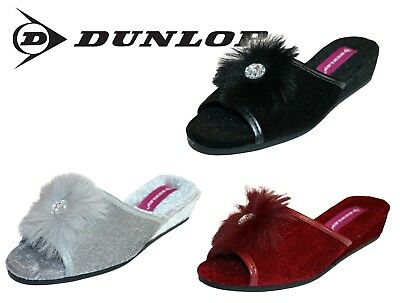 3e3228b306dc LADIES DUNLOP MULE Slippers New Marilyn Wedge Slip On House Shoe ...