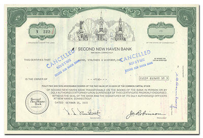 Second New Haven Bank Stock Certificate (Town Square Scene)