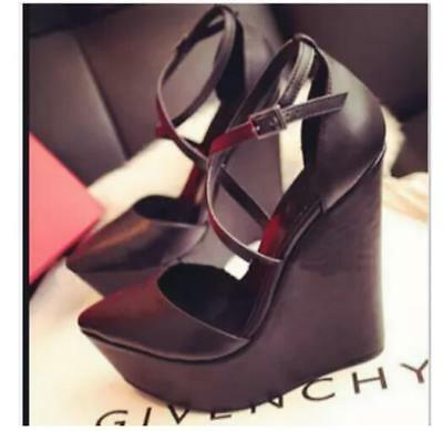 82388656f84 Women Super High-heeled Leather Work Wedges Platform Buckle Wedding Shoes  Zsell