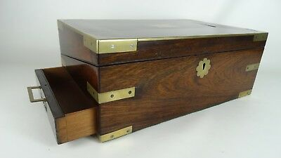 Antique English Brass Bound Campaign Style Rosewood Writing Slope Box