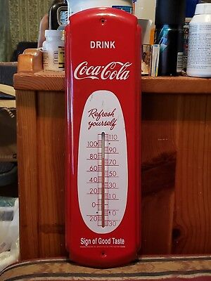 Vintage 1990 Drink Coca Cola Sign Of Good Taste Thermometer Advertising Sign