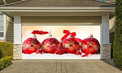 Merry Christmas Garage Door Covers Banners Outside New Year Home Decor GD118