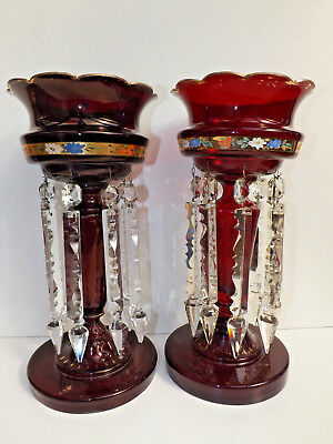 """Antique Pair Of Victorian Ruby Flash Glass Mantel Piece Vase Lustres 13.5"""" Tall"""