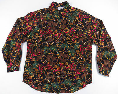 80S 90S Baroque Equestrian Belt All Over Print Silk Shirt Blouse Top Vintage