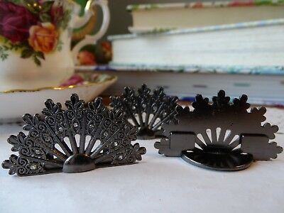 Antique Vintage Fan Peacock Place Setting Card Holders Party Wedding Shower Set