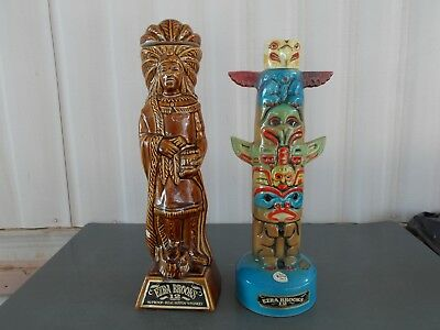 Pair of EZRA BROOKS TOTEM POLE AND CIGAR STORE INDIAN PORCELAIN DECANTERS