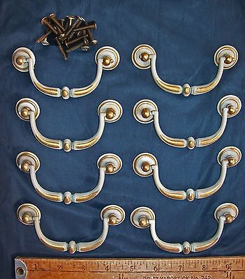 "Lot of 12 Vintage Bail Drawer Pulls Grayish & Brass Color & Screws 3"" inche c-c"