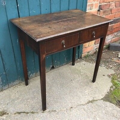 Antique Georgian George III Oak Two Drawer Side Table Hall Table
