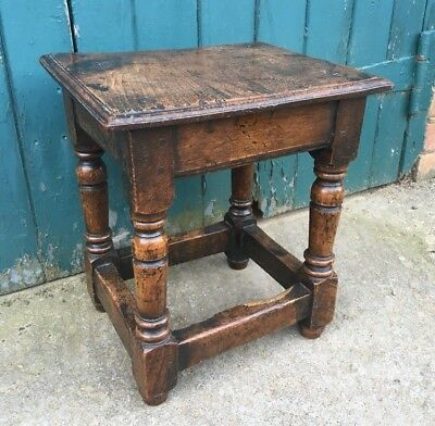 Antique 17th Century Style Joined Oak Stool Joint Stool
