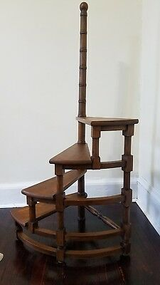 Architectural Antique Georgian Style Mahogany Spiral Library 4 Steps Ladder...