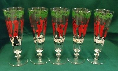 Lot ofFive Hand painted Pilsner Beer Glasses Victorian Family/Band Scene