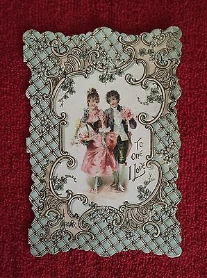 Antique Vintage VALENTINE'S DAY Sweetheart Card Die Cut/ Fold Out/ Embossed