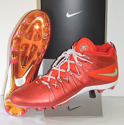 New $120 Nike Huarache Lacrosse IV 4 Flywire Cleats LE Red Chrome sz 16