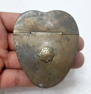 Antique Old Rare Brass Hand Carved Unique Heart Shape Opium Lock Box Rich Patina