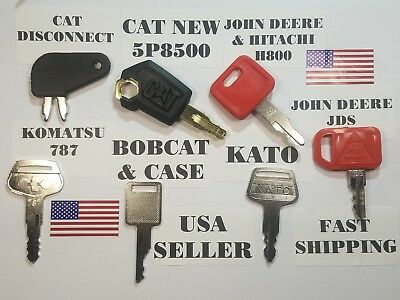 (7) Heavy Equipment Keys, Cat, Caterpillar, John Deere, Kato, Komatsu, Bobcat