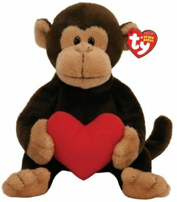 NWT - TY Beanie Baby D'vine Monkey with Red Heart Valentines - Retired 2008
