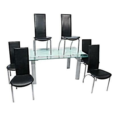 KAISER NEWMAN Post Modern Art Deco Dining Set Table Six Black Leather Chairs