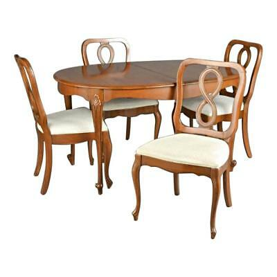 Fine Queen Anne Fruitwood Dining Set Carved Table Chairs Vintage Antique Side