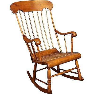 19th C Antique American Spindle Back Caned Seat Rocking Chair Armchair  Vintage - 19TH C ANTIQUE American Spindle Back Caned Seat Rocking Chair