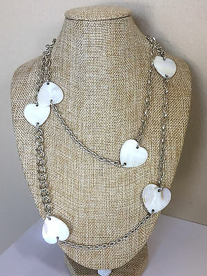 """Vintage Faux Mother of Pearl Heaerts Silver Tone Necklace - 39"""""""