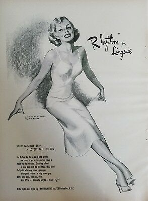 1950 Womens Rhythm in Lingerie Slip in Lovely Fall Colors Vintage Fashion Ad