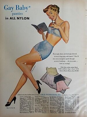 1949 women's blue gay baby panties underwear bra vintage fashion ad