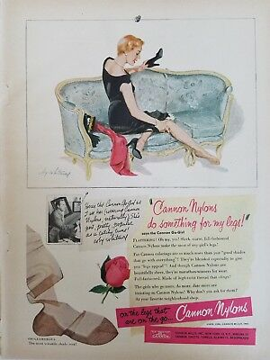 1950 women's Cannon Go-girl nylons stockings Hosiery Whitmore art ad