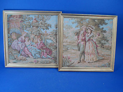 Pair of Antique Victorian Style Petit Point Tapestry - Francois Boucher scenes