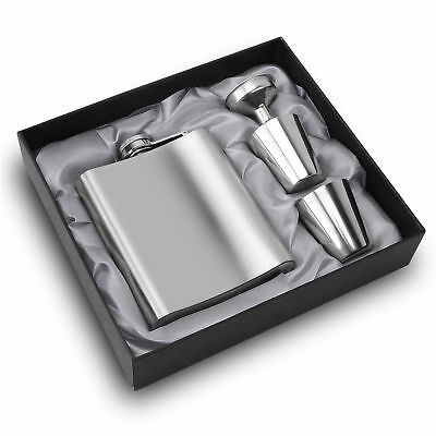 Portable Stainless Steel 7oz Hip Flask Drink Bottle+Funnel + Cup Set Flagon Gift