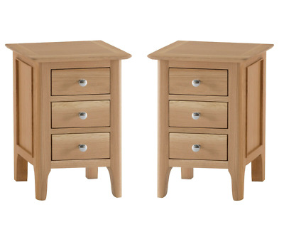 uk availability 1e0c0 e20df PAIR OF CLAVERO Oak Bedside Cabinets / Small Narrow Oak Bedside Tables /  Modern