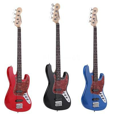 ammoon Electric Jazz Bass Guitar 4 String 21 Frets Basswood Body Blue Red Black