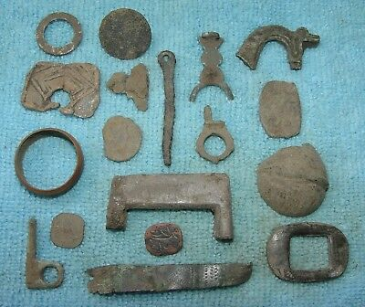 NICE LOT OF 18 ANCIENT ROMAN BRONZE ARTIFACTS APPLIQUES 2 - 4th CENTURY AD -D222