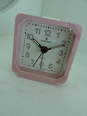 German made Junghans Quartz Travel alarm clock Pink