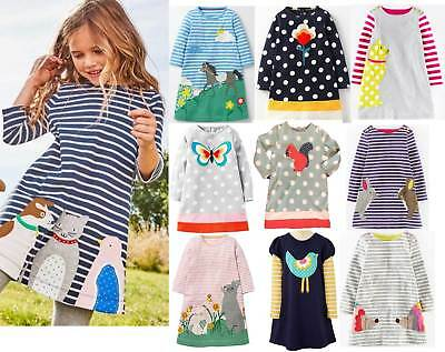 Dress Mini Boden girls applique jersey tunic butterfly squirrel pony pets flower