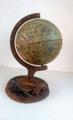 Antique Old Rare Unique Litho Print Tin World Map Globe Atlas On Stand England