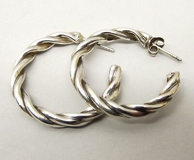 Vtg Sterling Silver Woven Rope Hoop Earrings Ornate Textured Band Estate Cable