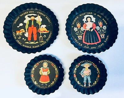 4 Amish Tole Twins Black Pie Tart Plates Dishes Pans Plates Folk Art Americana