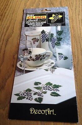 Decoart Bunches Of Grapes Easy Cling Stencils Reusable For Glass, Tiles, Plastic