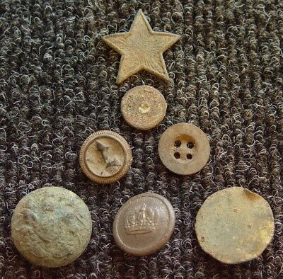 Lot of 7 WWII Soviet Russian Buttons & Artifacts - Ref.262