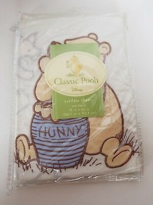 Disney Classic Pooh Embroidered Sheer Curtain One Panel 42x60 NEW