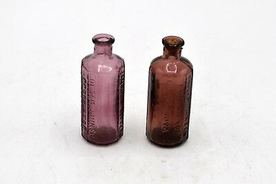 Pair of Lancaster's 1852 Vegetable Bitters Purple Glass Bottles Col Sam Johnson
