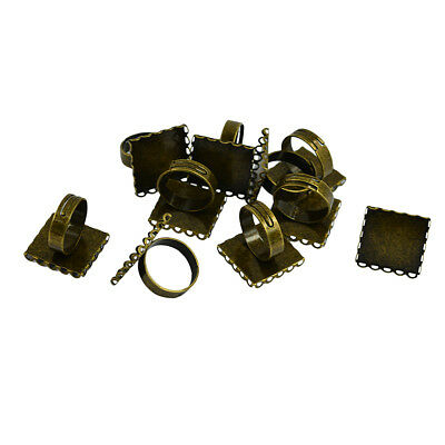 10pc 20mm Cabochon Jewelry Settings Bead Adjustable Bronze Square Ring Bezel