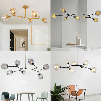 Industrial Glass Chandelier Branching Vintage Light Pendant Lamp Ceiling Fixture