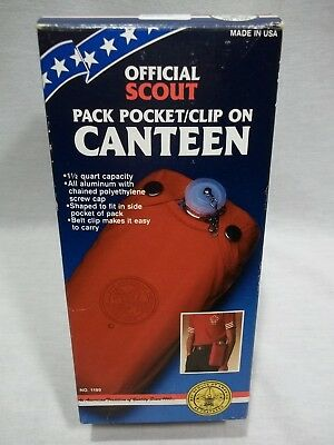 Vintage - Official Scout Pack Pocket / Clip On Canteen - Boy Scouts of America