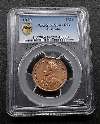 1919 Australia Half Penny 1/2d Copper Coin - George V - PCGS Graded MS64+RB