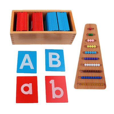 Montessori Wooden Toy Materials Color Bead Stairs & Alphabet Letter Training