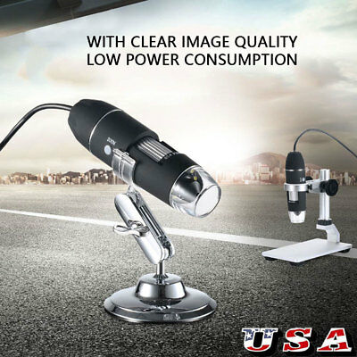 8LED 1000X USB 2.0 Digital Microscope Endoscope Magnifier Camera With Stand US