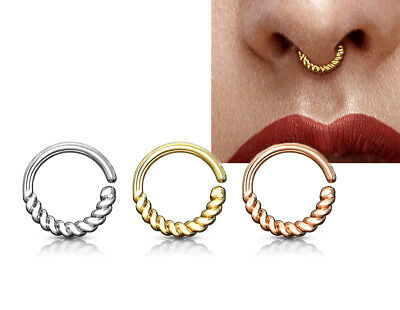Half Circle Braided Bendable Hoop Rings for Septum Ear Cartilage, Daith 16g #S25